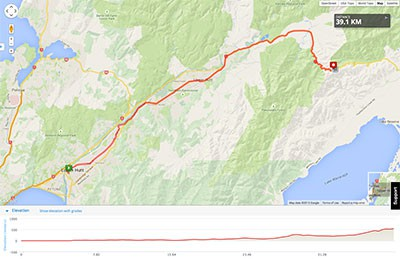 Wellington to Auckland course map - Stage 1