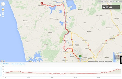 Wellington to Auckland course map - Stage 11