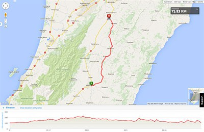 Wellington to Auckland course map - Stage 3