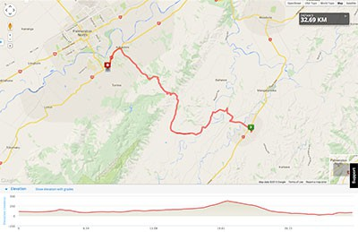 Wellington to Auckland course map - Stage 4