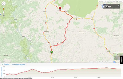 Wellington to Auckland course map - Stage 7
